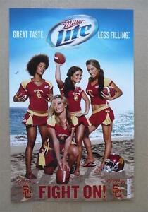 USC Trojans Cheerleader Girls Miller Lite Fight On Poster NEW