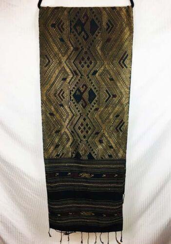 Vintage Antique Gold Metallic Weave Shawl Scarf Laos Water Dragon Thai Nak Nagas