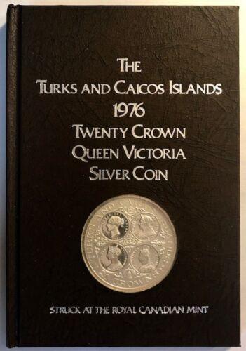 TURKS & CAICOS - Queen Victoria - Pure Silver Proof 20 Crowns - 1976 - OGP & COA