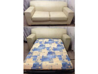 very good condition cream leather large 2 seater sofa sofabed