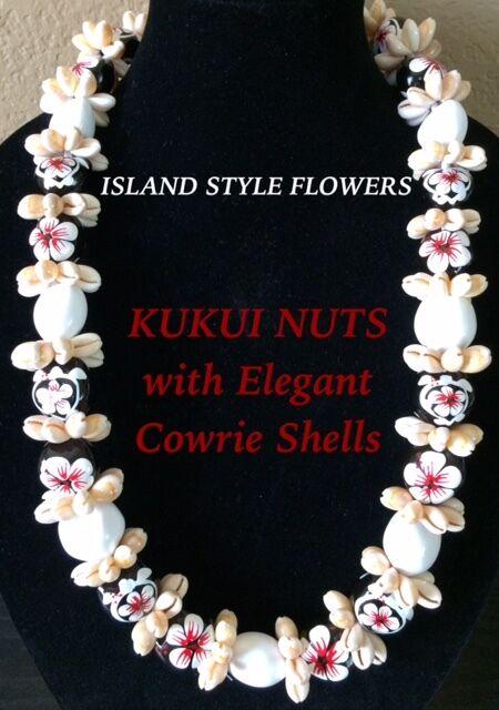 Hawaii Wedding Kukui Nut Lei w/ Cowrie Shell Graduation Luau Necklace-White