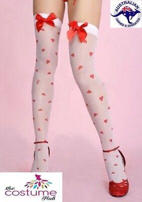 NEW Sexy Sheer White Stockings Hearts Christmas Valentine Gift