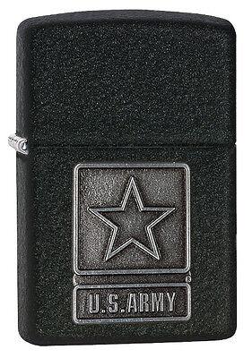 Zippo Pewter Emblem Black Crackle - Zippo New 2014 Choice Catalog U.S.Army Pewter Emblem Black Crackle 28583