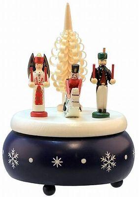 Schöne Weihnachtsspieluhr, Spieldose aus Holz mit Engel, Bergmann und Reiter **