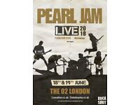 2x Pearl Jam (seated) tickets O2 Tuesday 19th June 2018
