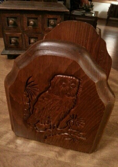 Vintage Owl Bookends Books Wood Natural Library Decor
