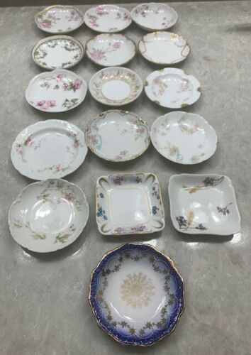 16 Antique RARE Assorted Haviland Limoges France Flowers Open Butter/Salt Pats