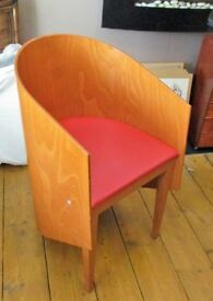 retro bent wood tub chair with red leatherette seat