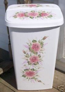 Hp Roses Shabby To Chic Trash Can Laundy Hamper By Mb