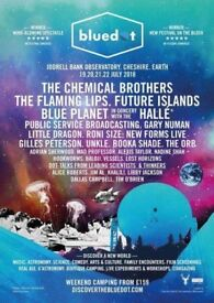 Blue dot festival weekend tickets for adult and child. Includes camping and parking. Reduced