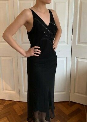 Genuine Versace Jeans Couture Black Evening Dress with sequin trim size XS
