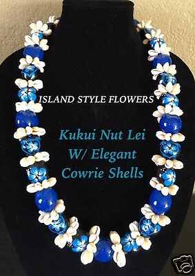 Hawaii Wedding Kukui Nut Lei w/ Cowrie Shell Graduation Luau Necklace-BLUE