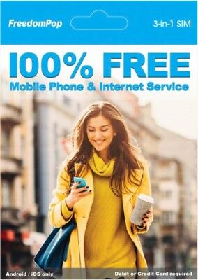 FreedomPop - Nationwide 4G LTE 3-in-1 Basic Free SIM Card Kit