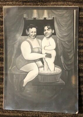 Vintage Funny Couple Photo Carnival Photo Booth Picture 1940s