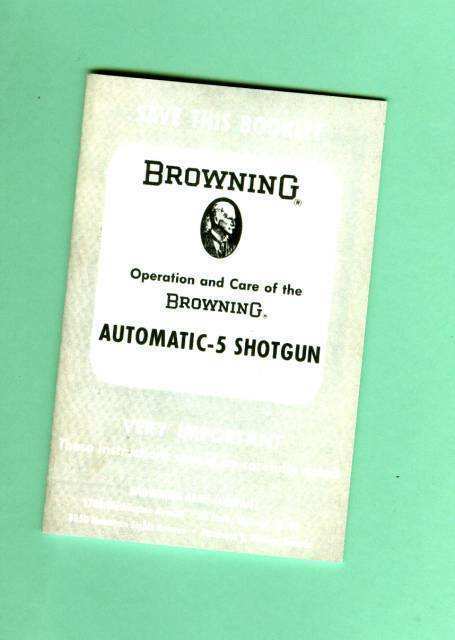 Browning  Model A5 Automatic-5 Shotgun Owners Manual Reproduction