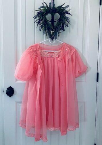 SHADOWLINE Vintage Chiffon Lace Lingerie Nightgown Robe