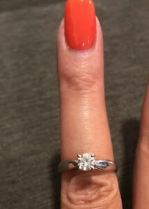 Beautiful solitaire diamond set in 14k white gold