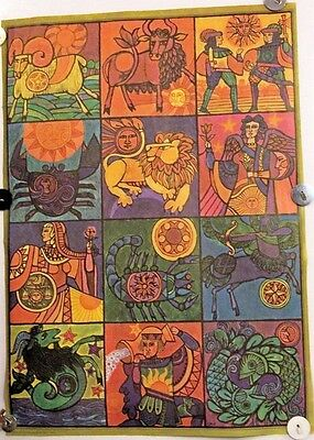 Vintage Poster 12 Zodiacs Horoscope Zodiac Astrology Art New Age NICE Colorful on Rummage