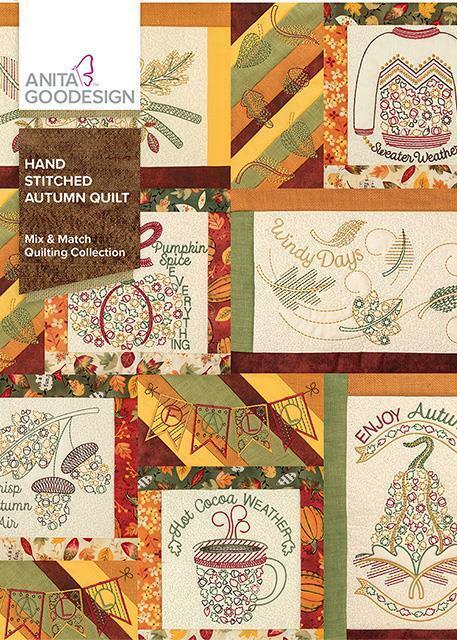 Hand Stitched Autumn Quilt Anita Goodesign Embroidery Design Machine CD