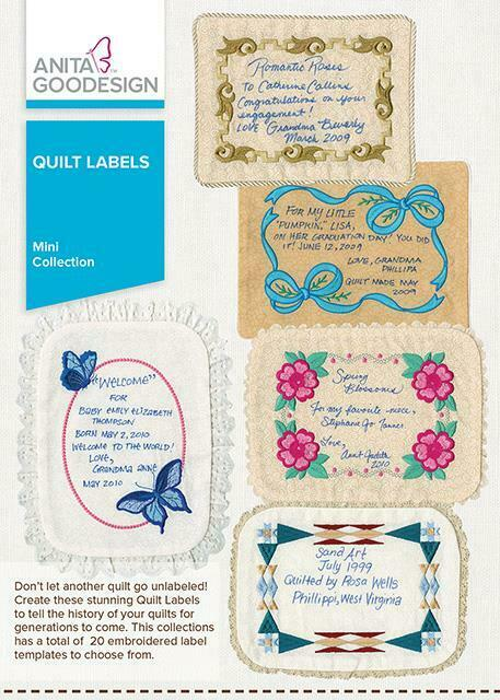 Quilt Labels Anita Goodesign Embroidery Machine Design CD