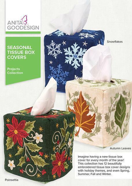 Seasonal Tissue Box Covers Anita Goodesign Embroidery Machine Design CD NEW