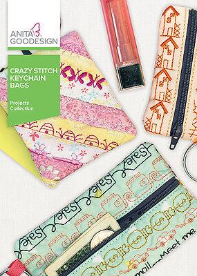 Anita Goodesign Embroidery Machine Design CD CRAZY STITCH KEYCHAIN BAGS