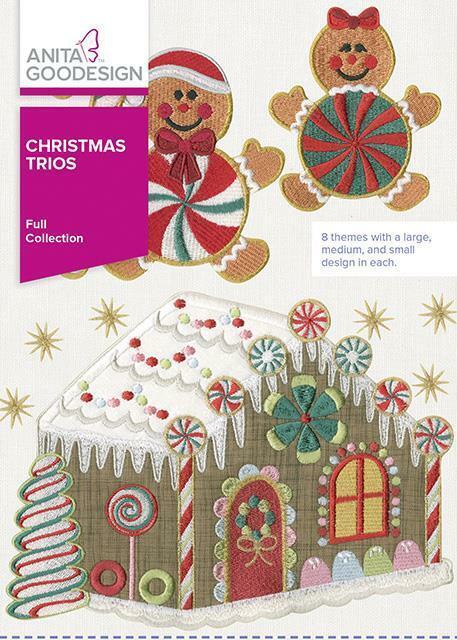 Christmas Trios Anita Goodesign Embroidery Machine Design CD NEW