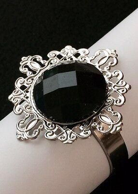 WHOLESALE 50 PCS Black Diamond Napkin Rings Wedding Party Table Decoration Favor (Wholesale Napkin Rings)