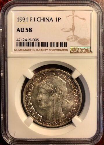 FRENCH INDOCHINA - Vietnam - Silver PIastre - 1931 - NGC AU58 - Toned Beauty!