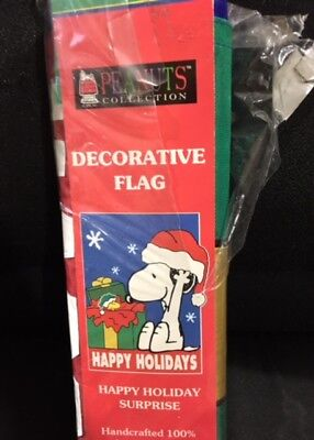 PEANUTS COLLECTION SNOOPY & WOODSTOCK HAPPY HOLIDAYS LARGE FLAG BANNER - Woodstock Banner