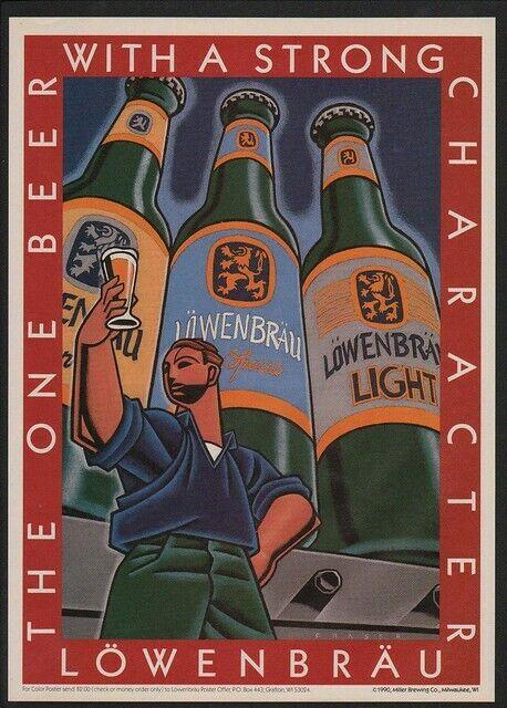 1990 LOWENBRAU Light Beer - MILLER BREWING COMPANY - ART -  VINTAGE AD