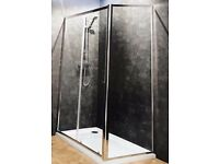 800 x 1200mm Shower Tray. Sliding Door & Side Panel + Waste (Brand New item)