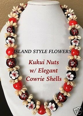 Hawaii Wedding Kukui Nut Lei w/ Cowrie Shell Graduation Luau Necklace- RED