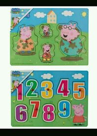 New peppa pig wooden puzzle x2