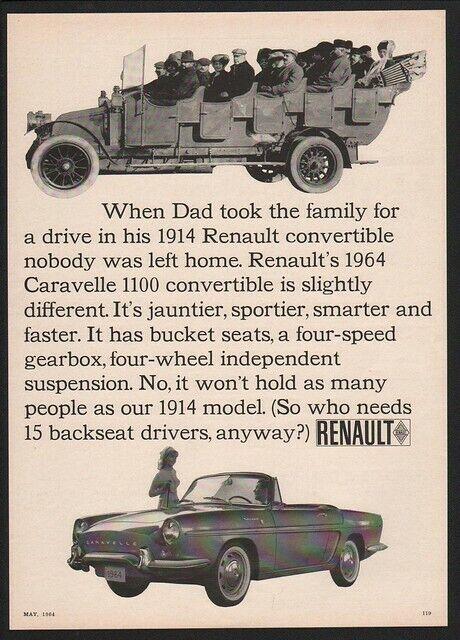 1964 RENAULT CARAVELLE 1100 Convertible Sports Car - 1914 Model VINTAGE AD