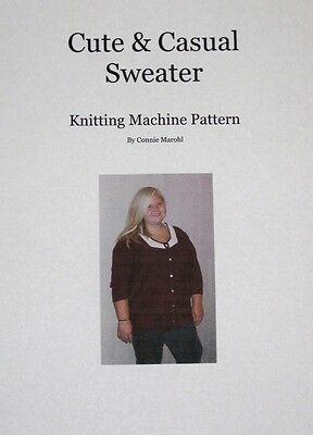 NEW DESIGN!  3/4 length sleeve & 2 COLOR  NECKLINE!  Knitting machine pattern!