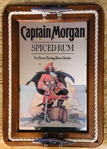 """Captain Morgan Spiced Rum Wall Mirror Sign Rope Serving Tray! W~15.5""""x L~ 21.5"""""""