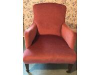 Elegant Antique Velvet Armchair on Castor Legs