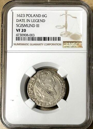 POLAND - King Sigismund III Vasa - Medieval Silver 6 Groschen - 1623 - NGC VF-20