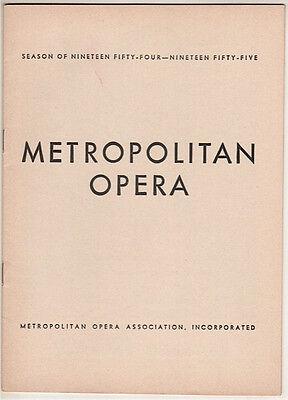 """Metropolitan Opera Playbill """"Manon"""" 1955 Licia Albanese, Rosalind Elias"""