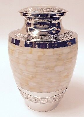 GORGEOUS ADULT SOLID NICKEL MOTHER OF PEARL CREMATION URNS, NEW CREMATION URN