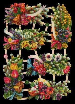 Glanzbilder Oblaten ~  ef 7369 Frühlingsblumen Ostern Scrap Poesie
