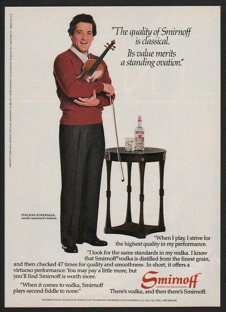 1984 WORLD RENOWNED VIOLINIST PINCHAS ZUKERMAN - SMIRNOFF Vodka VINTAGE AD