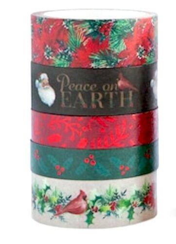 5 Rolls Xmas Cardinal Santa Holly Poinsettia Washi Tape Planner Supply Crafts