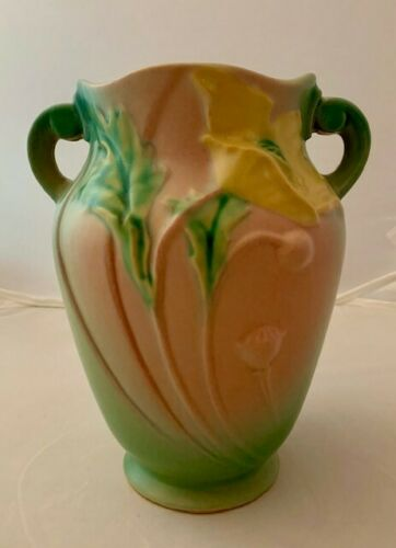 Vintage Roseville Yellow Poppy Pottery Vase with Double Handles