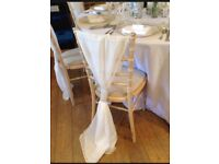 70 Ivory Bridal Chair Covers with Silver ties