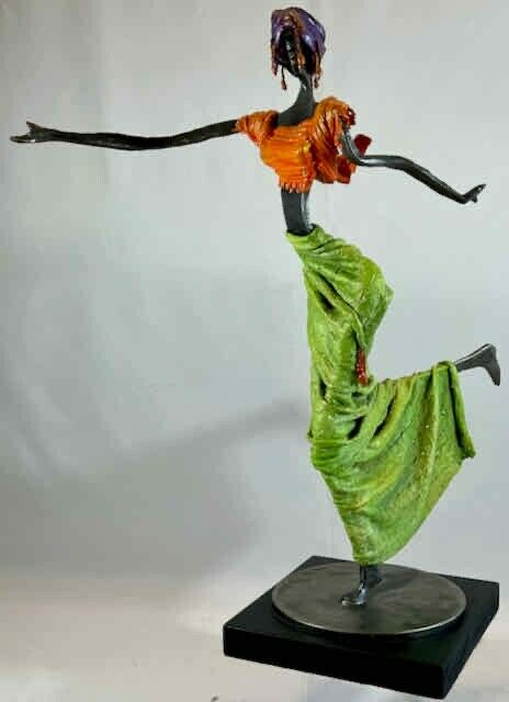Hand Made Sculpture Metal African Female In Tribal-Like Costume