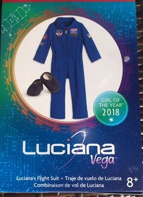 American Girl Luciana Flight Suit Nib Patches Blue Nasa