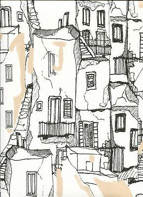 Southwestern Adobe Village Black & White Toile Wallpaper KE29943