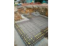 Basements, retaining walls, block and beam, reinforced concrete foundations, strip foundations